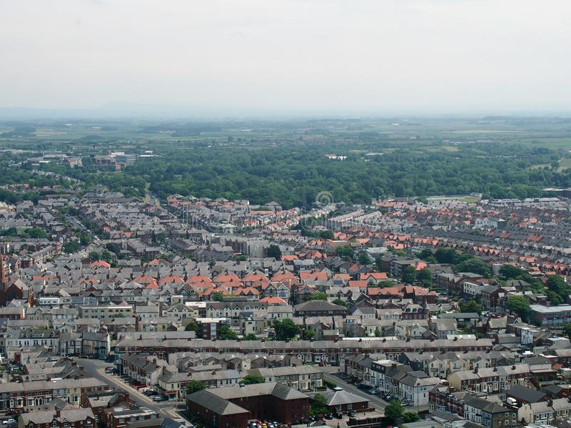 Aerial panoramic view of the town of blackpool looking east showing the streets and roads of the town with lancashire countryside stock photos