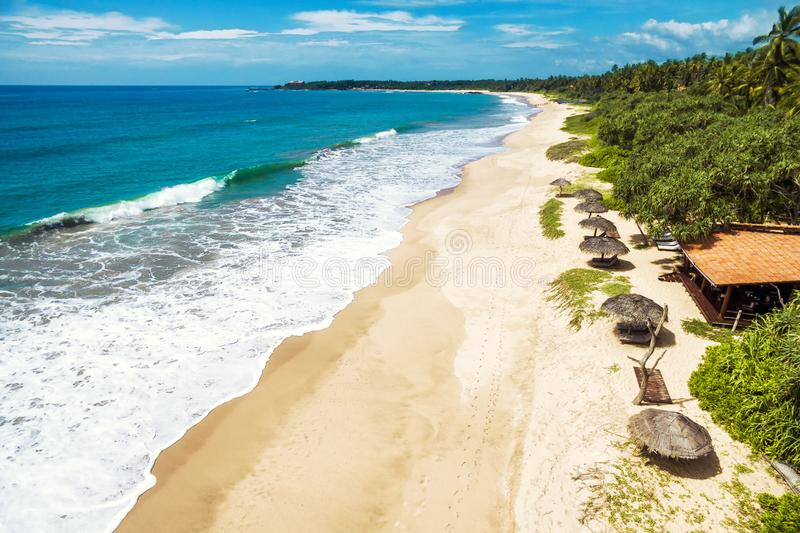 Aerial panoramic view of the tropical long beach, Sri Lanka stock photography