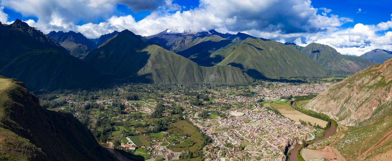 Aerial panoramic view of Urubamba city and river located at the Sacred Valley of the Incas. Near Cusco city. Mountains alpine landscape in a region of Cusco royalty free stock photography