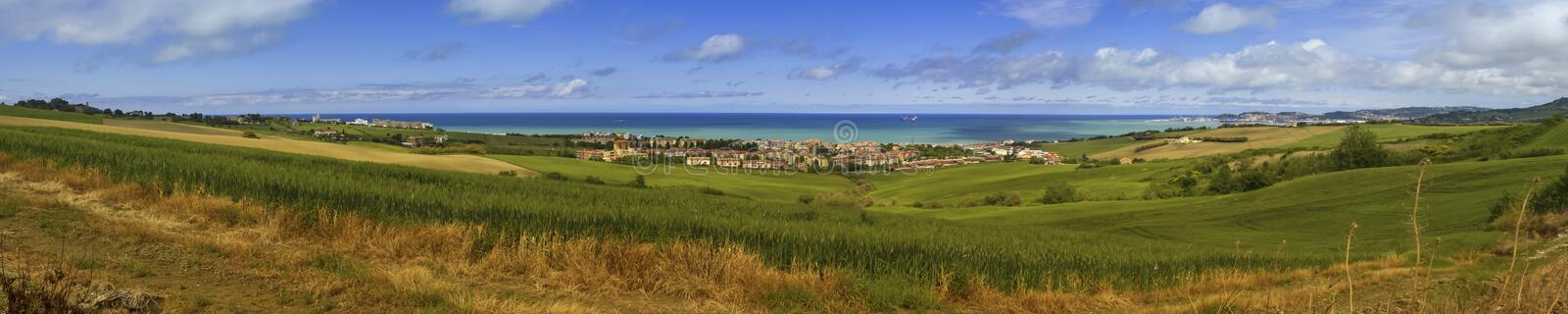 Aerial panoramic view of villages on the adriatic coast near Anc. Ona by beautiful day, Italy royalty free stock photo