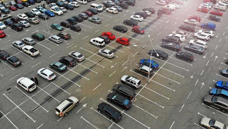 Aerial. Parking lots with cars. Traffic in a big city stock images