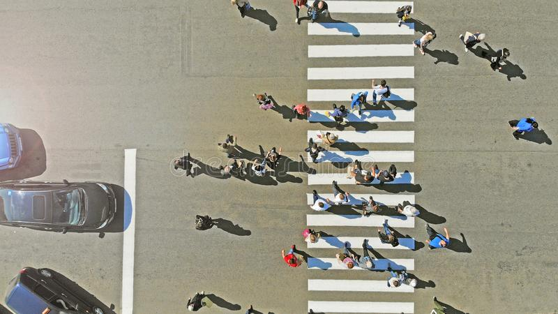 Aerial. Pedestrian crosswalk crossing, top view. Cars stopped  at the traffic lights. Aerial. Pedestrian crosswalk crossing, top view. Cars stopped  at the royalty free stock photography