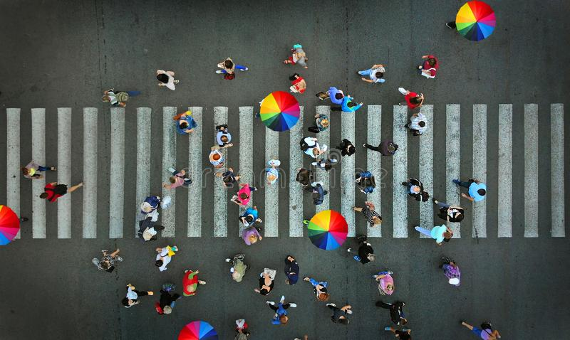Aerial. Pedestrian crosswalk crossing view above. stock image