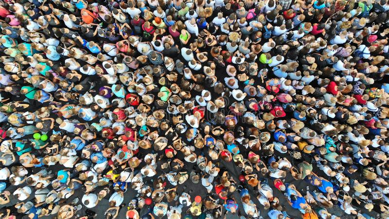 Aerial. People crowd background. Mass gathering of many people in one place. Top view.  royalty free stock photos