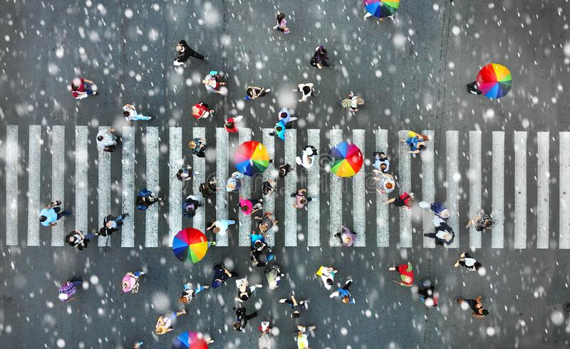 Aerial. People crowd on a pedestrian crossing crosswalk stock photography