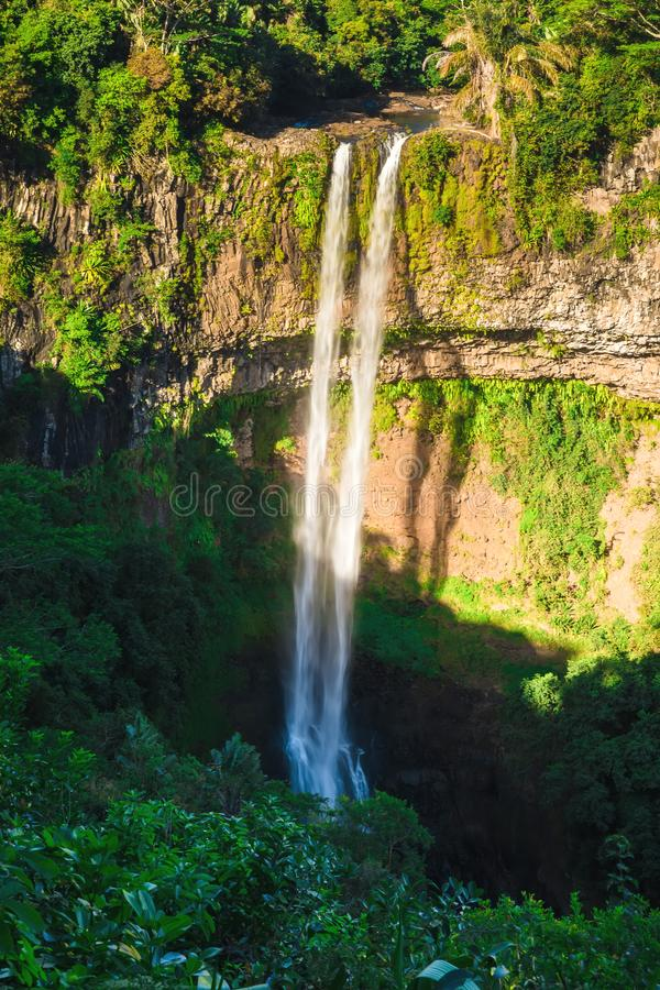 Aerial perspective of Chamarel Waterfall in tropical jungle of Mauritius stock images