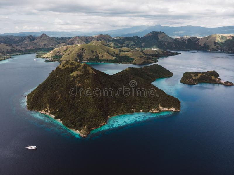 Aerial perspective of Komodo National Park, Indonesia stock images