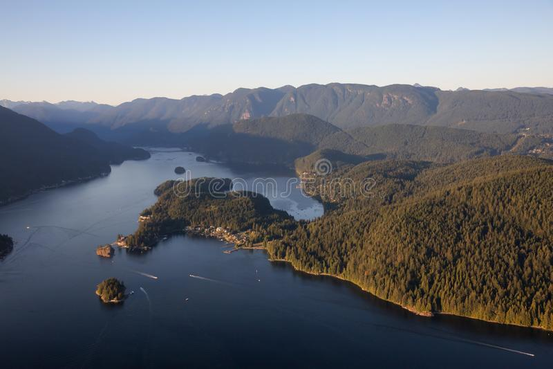 Aerial perspective ofDeep Cove, Vancouver. Aerial view of Deep Cove during a vibrant sunny summer evening. Taken in Vancouver, BC, Canada stock photography