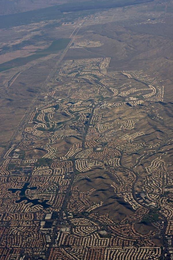 Aerial of Phoenix Arizona. Urban sprawl royalty free stock image