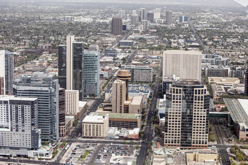 Aerial phoenix. Aerial view of downtown Phoenix, Arizona stock photos