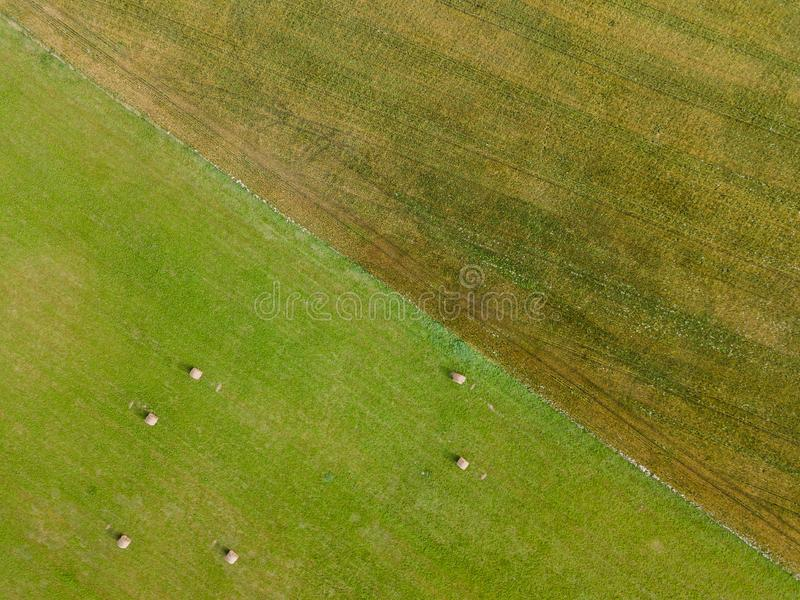 Aerial Photo of Agriculture Fields, Top Down view in Early Spring on Sunny Day royalty free stock images