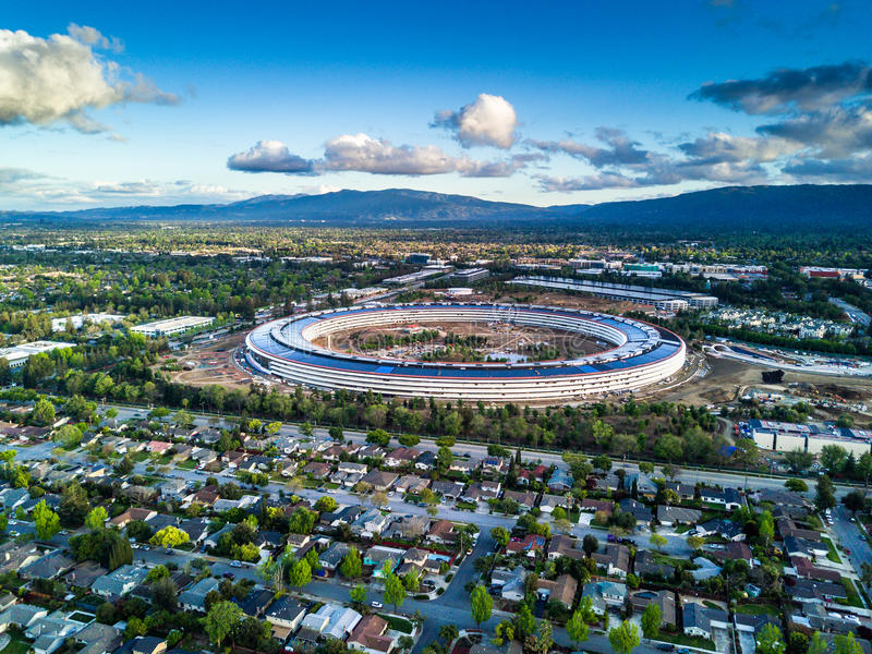 Aerial photo of Apple new campus under construction in Cupetino stock photography