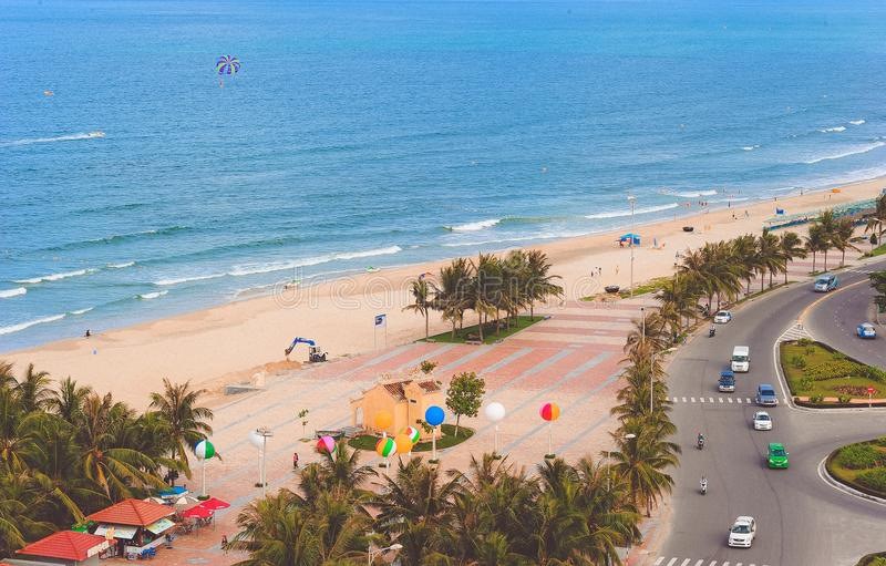 Aerial Photo of Beach Beside Road royalty free stock photography