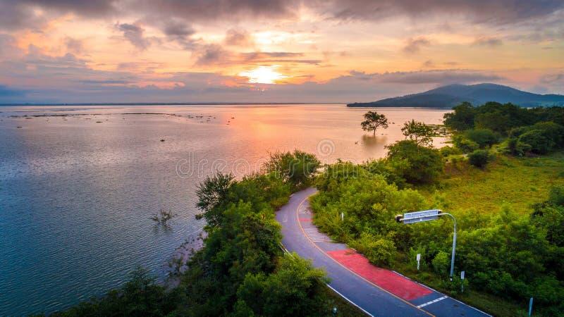 Aerial Photo Beautiful Road around the lake. Morning royalty free stock image