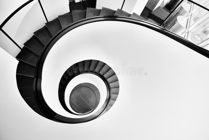 Aerial Photo of Black Spiral Staircase stock photos