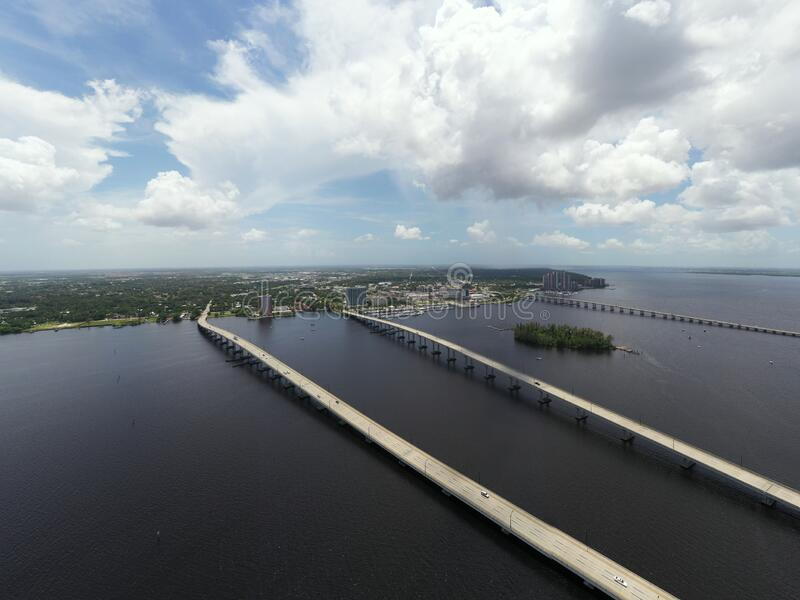 Aerial photo bridges to Fort Myers Florida over the Caloosahatchee River royalty free stock photos