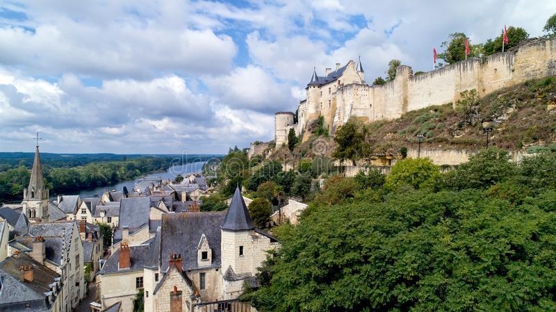 Aerial photo of Chinon medieval fortress in Indre and Loire royalty free stock photography