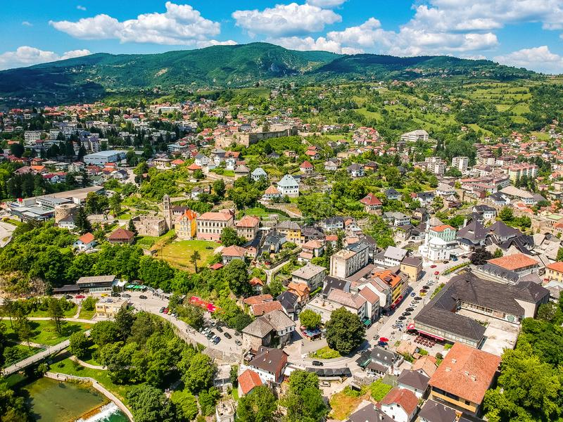 Aerial photo of city Jajce in Bosnia and Herzegovina.  royalty free stock image