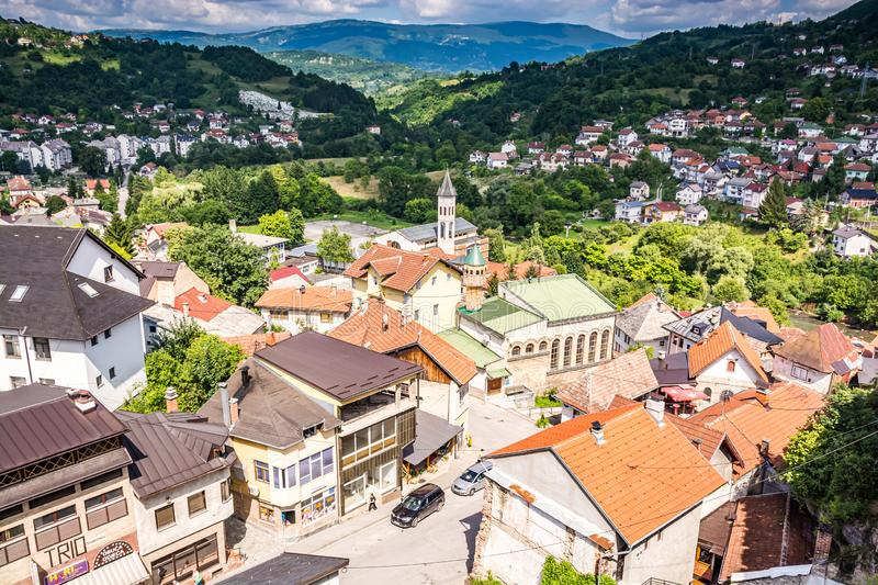 Aerial photo of city Jajce in Bosnia and Herzegovina.  stock photos