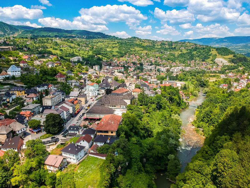 Aerial photo of city Jajce in Bosnia and Herzegovina.  royalty free stock photos
