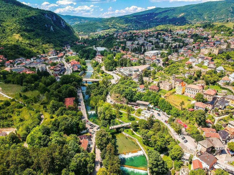 Aerial photo of city Jajce in Bosnia and Herzegovina.  stock photography