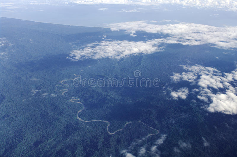 Aerial photo of the coast of New Guinea stock photo