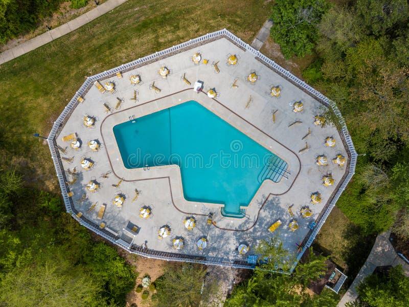 Community pool before the swim season start. Aerial photo of community pool before the swim season start royalty free stock photography