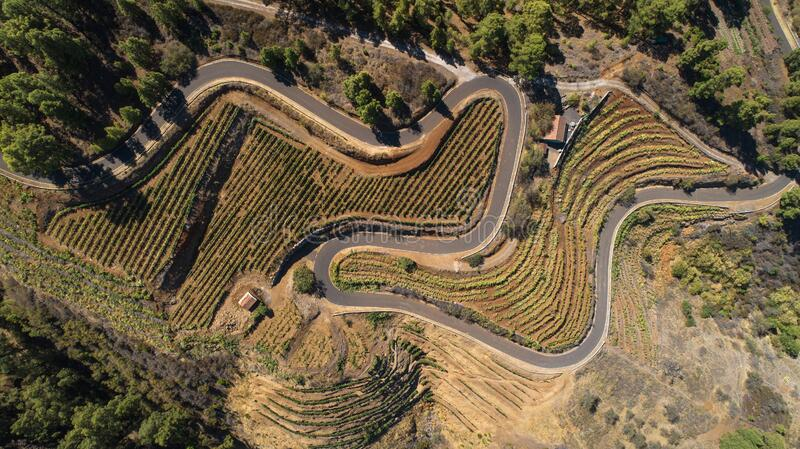 Aerial photo of a curvy road. stock image