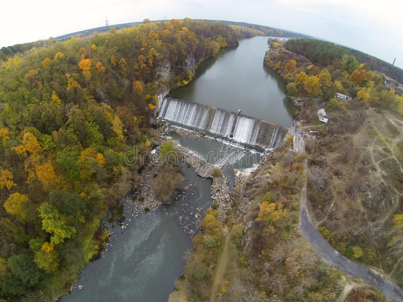 Aerial Photo of the dam on the Teteriv river.  stock photos
