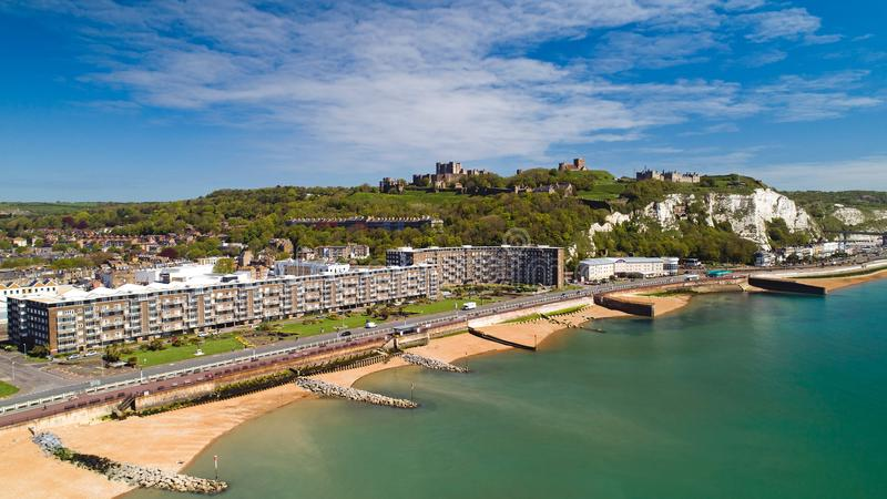 Aerial photo of Dover beach and castle, Kent, England royalty free stock photography