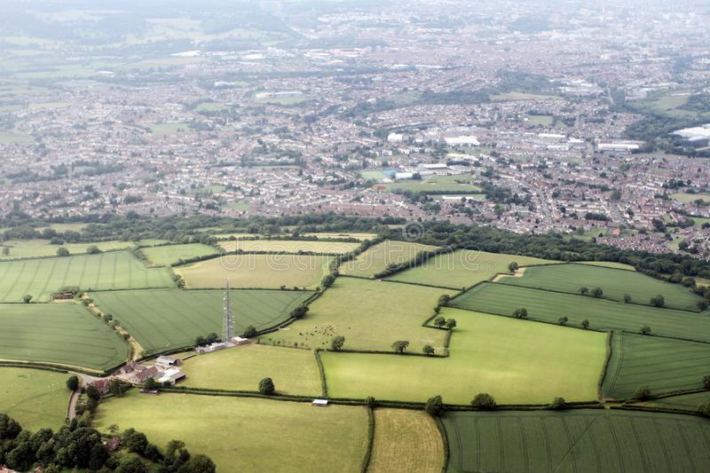Aerial photo of the English Bristol countryside. The city in the background. royalty free stock image