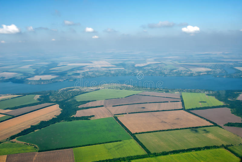 Aerial photo of Farmland. And Dnepr river royalty free stock images