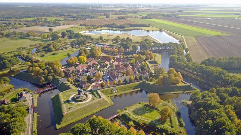 Aerial photo of Fort Bourtange in Groningen, The Netherlands. Drone picture of Unesco World Heritage fortification of Bourtange. Fort Bourtange Dutch: Vesting royalty free stock image