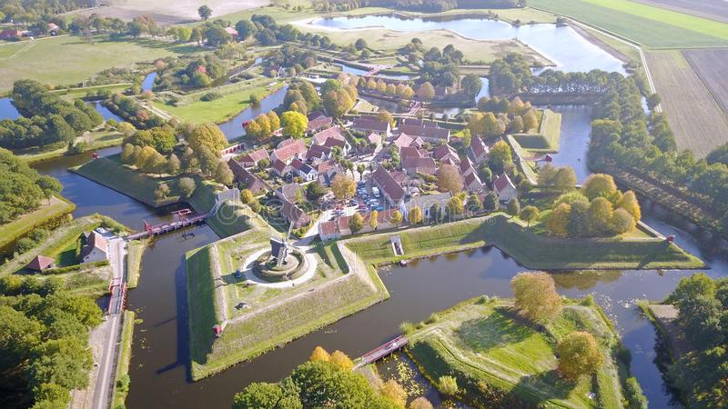 Aerial photo of Fort Bourtange in Groningen, The Netherlands. Drone picture of Unesco World Heritage fortification of Bourtange. Fort Bourtange Dutch: Vesting stock images