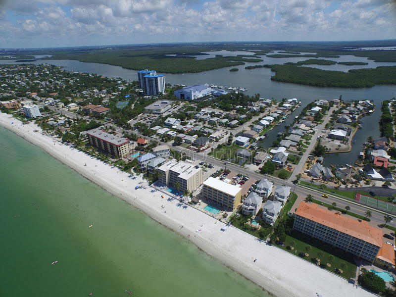 Aerial photo Fort Myers Beach FL. Aerial drone photo of Fort Myers Beach FL royalty free stock images