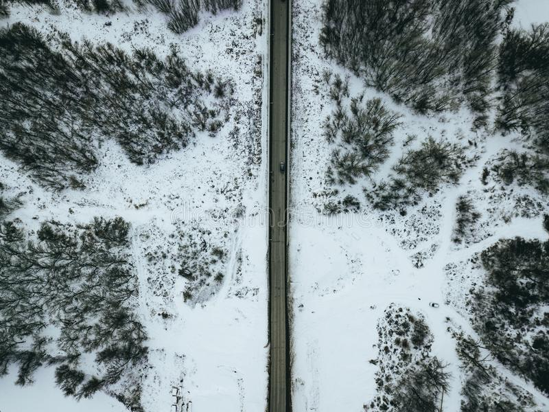 Aerial Photo of Gray Concrete Road during Winter royalty free stock photo