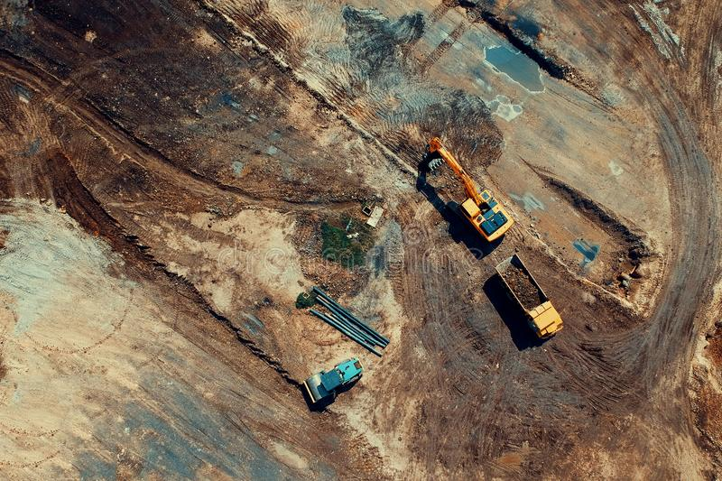 Aerial Photo Of Heavy Equipments royalty free stock photography