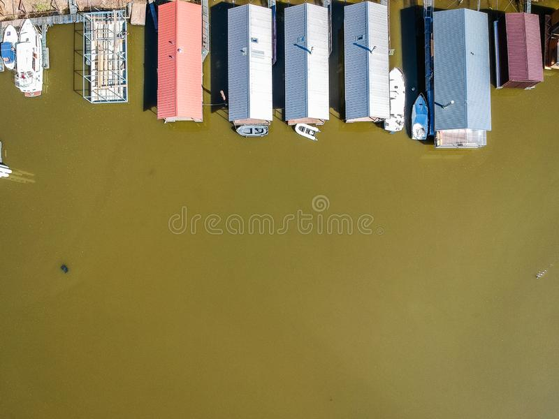 Aerial photo of houseboats with boats royalty free stock photography