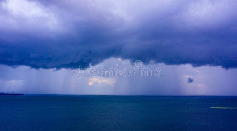 Aerial photo hurricane storm clouds over the bay royalty free stock images