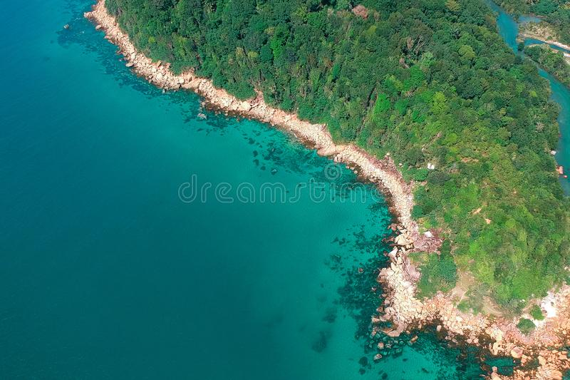Aerial Photo of Island With Green Trees at Daytime stock image