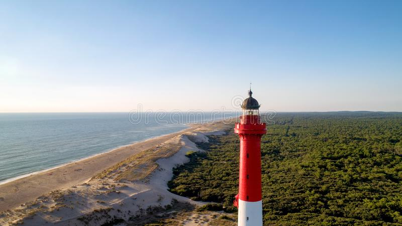 Aerial photo of lighthouse La Coubre in La Tremblade, Charente M royalty free stock photos