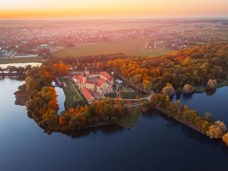 Aerial photo Nesvizh castle in autumn evening, Belarus Minsk stock photography