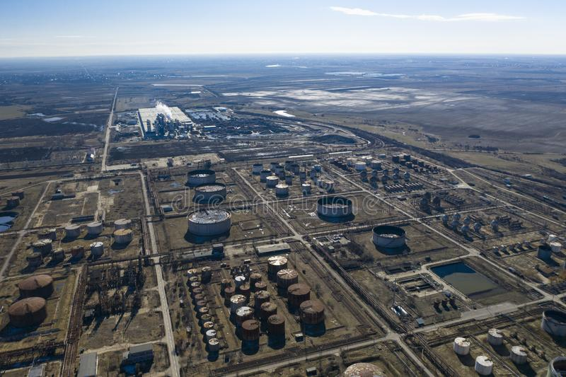 Oil Refinery. And Trains, aerial view stock photos