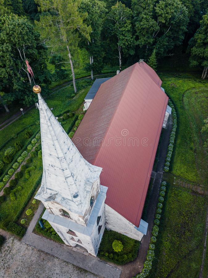 Aerial Photo of an Old Lutheran Church in Countryside Between Trees in Early Spring on Sunny Day, Close up royalty free stock photos