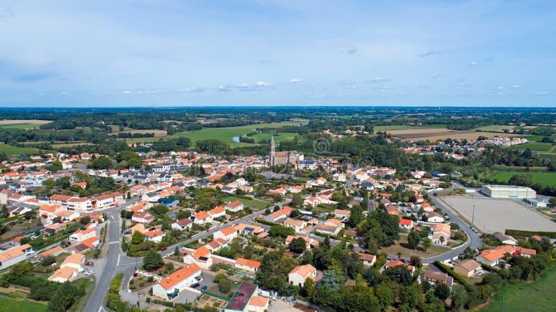 Aerial photo of Port Saint Pere village, Loire Atlantique royalty free stock photo