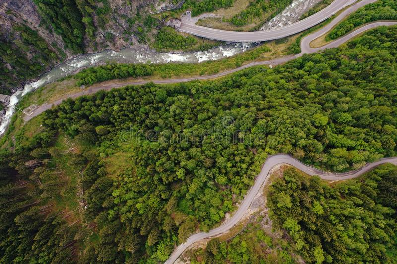 Aerial Photo of Road and Trees royalty free stock photos