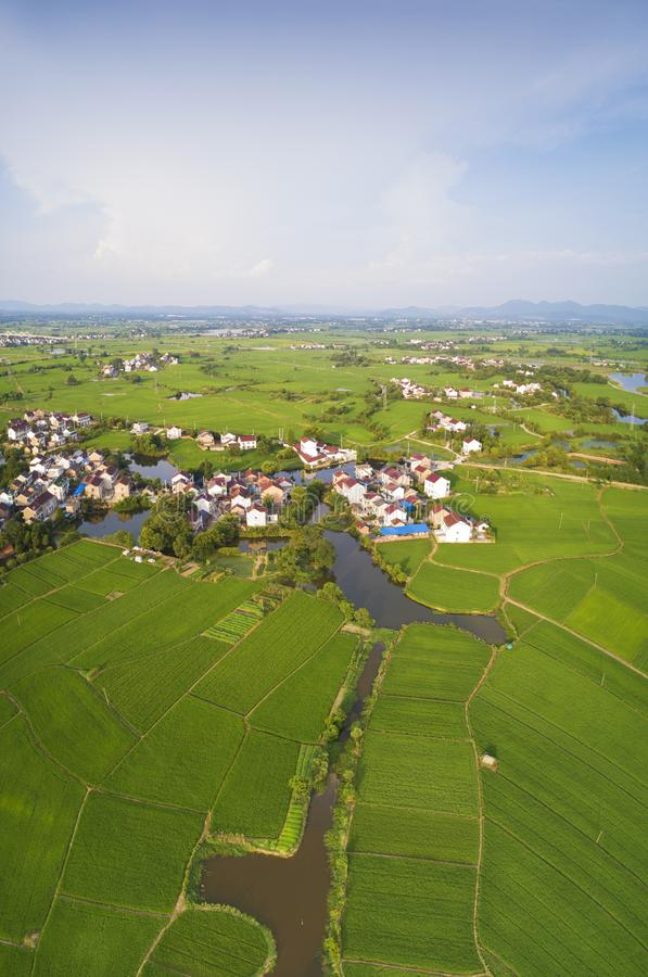 Aerial photo of summer rural ecological pastoral scenery in  xuancheng city, anhui province, China royalty free stock photography