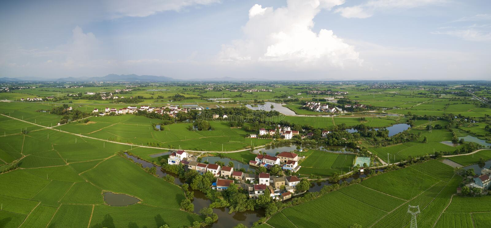 Aerial photo of summer rural ecological pastoral scenery in  xuancheng city, anhui province, China royalty free stock images