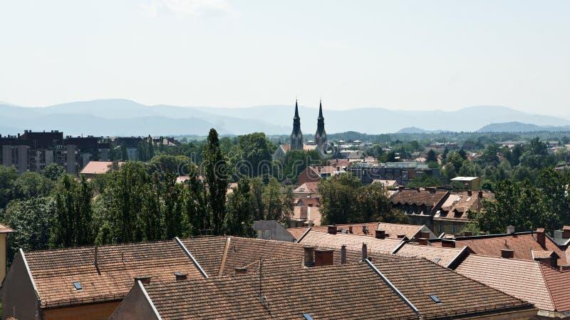 Aerial photo, Scenic view of old town, sunny day, Ljubljana, Slovenia royalty free stock photo
