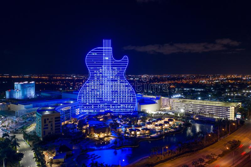 Aerial photo of the Seminole Hard rock casino guitar shaped hotel stock image